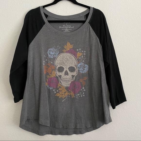 Torrid Floral Skull Baseball T-shirt